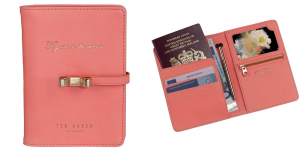 Ted Baker Coral Travel Document Holder with Pen