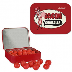 Bacon Flavored Gumballs in Tin