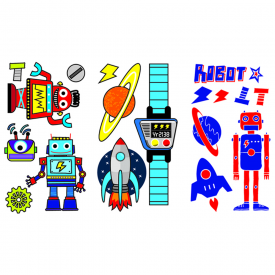 Children's Robot Tattoo Stickers