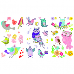 Owl Glitter Tattoo Stickers