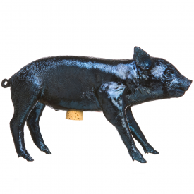 Areaware Reality Bank in the Form of a Pig Navy Blue Chrome
