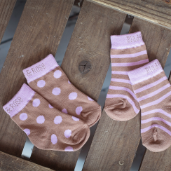 Brown Dots & Stripes Children's Socks