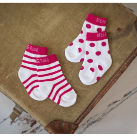 White Stripy & Dots Children's Socks