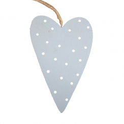 Blue Spotty Wooden Heart