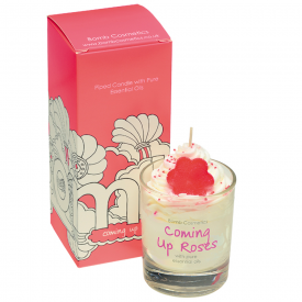 Coming Up Roses piped Glass Candle