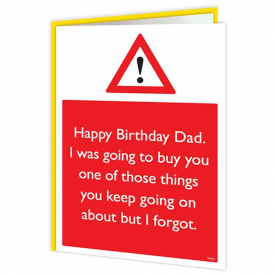 I Forgot Dad Warning Card