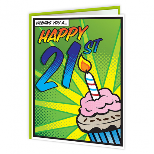 Brainbox Candy Pop Art 21st Birthday Card At Flamingo Gifts