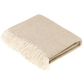 100% Lambswool Beige Herringbone Throw