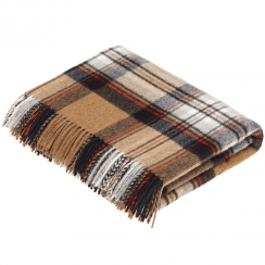 100% Lambswool Camel Stewart Tartan Throw