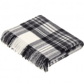 100% Lambswool Dress Grey Stewart Tartan Throw