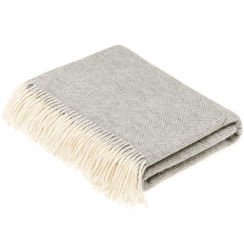 100% Lambswool Grey Herringbone Throw