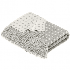 100% Lambswool Grey Spot Throw