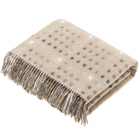 100% Lambswool Multispot Natural Throw