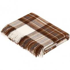 100% Lambswool Natural Dress Stewart Tartan Throw