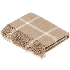 100% Lambswool Windowpane Beige Throw
