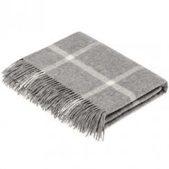 100% Lambswool Windowpane Grey Throw