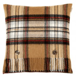 Lambswool Camel Stewart Tartan Cushion