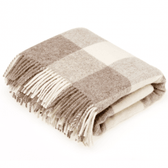 Natural Collection Checkerboard Beige Throw