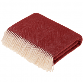 Pure New Wool Herringbone Red Throw