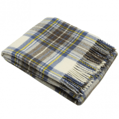 Pure New Wool Muted Blue Stewart Tartan Throw