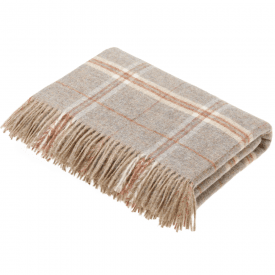 Pure New Wool Transitional Windowpane Sandstone Throw