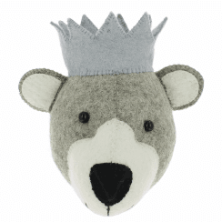 Baby Bear Mini Felt Animal Head, Wall Mounted