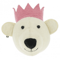Baby Bear with Pink Crown Mini Felt Animal Wall Head