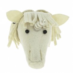 Baby Unicorn Silver/Gold Trim Felt Animal Wall Head