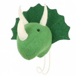 Big Felt Cream Triceratops Head Coat Hook