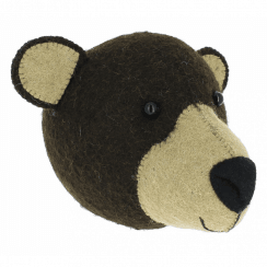 Brown Bear Mini Felt Animal Wall Head