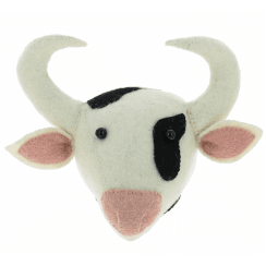 Cow Mini Felt Animal Head, Wall Mounted