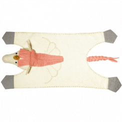 Cream & Pink Unicorn Felt Animal Rug