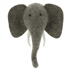 Elephant Mini Felt Animal Head, Wall Mounted