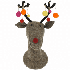 Felt Christmas Reindeer Wall Head With Pom Poms