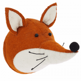 Fox Felt Animal Head, Wall Mounted