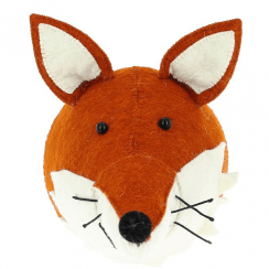 Fox with Ruff Felt Animal Head, Wall Mounted