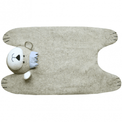Grey Baby Bear with Crown Felt Animal Rug