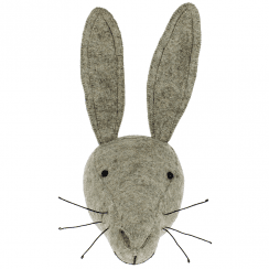 Grey Hare Felt Animal Head, Wall Mounted