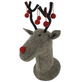 Grey Reindeer Felt Wall Head with Red Pom Poms