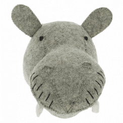 Hippo Mini Felt Animal Head, Wall Mounted
