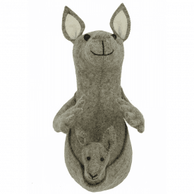 Kangaroo Head Mini Felt Animal Head, Wall Mounted
