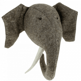 Large Elephant with Tusks Felt Animal Head, Wall Mounted