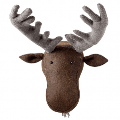 Large Moose Felt Animal Head, Wall Mounted