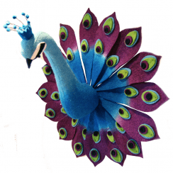 Large Peacock Felt Animal Head, Wall Mounted