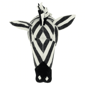 Large Stripe Zebra Felt Head, Wall Mounted