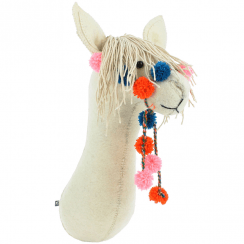 Llama with Pom Pom Bridle Felt Animal Wall Head