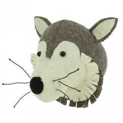 Mini Wolf Felt Animal Wall Head