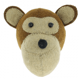 Monkey Mini Felt Animal Head, Wall Mounted