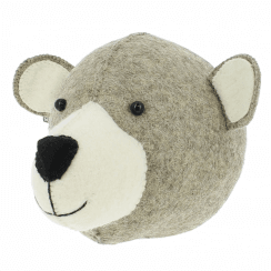 Mummy Bear Felt Animal Head Wall Mounted