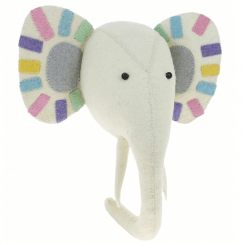 Pastel Safari Elephant Animal Head, Wall Mounted
